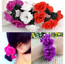 Chic Flower Bun Garland Floral Head Knot Hair Top Scrunchie Band Elastic Bridal