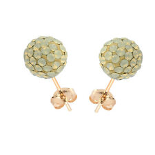 14K Yellow Gold Swarovski Elements Crystal Sand Opal Disco Ball Stud Earring