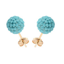 14K Yellow Gold Swarovski Elements Crystal Turquoise Disco Ball Stud Earring