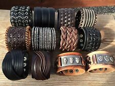 Men's Cool Punk Wide Genuine Leather Cuff Wristband Bangle Bracelet