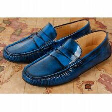 US6-10 Mens leather slip on penny loafers strap shoes causal moccasin car shoes