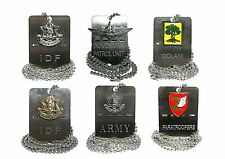 army dog tag chain military idf israel defense forces  Engraving Silver necklace