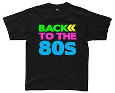 BACK TO THE 80s Mens T-Shirt S-3XL Black 80's Fancy Dress Costume Outfit Neon