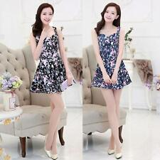 Women Mini Dress Floral Print Zipper Back V Neck Sleeveless Pleated Dress S-XL