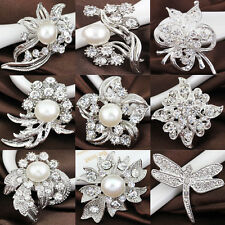 Hot Wedding Bridal Silver Rhinestone Crystal Pearl Brooches Brooch Bouquet Pins