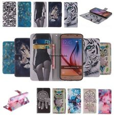 For Samsung Double Painted Magnetic PU Leather Flip Slot Wallet Case Cover Stand