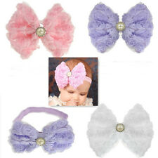 Hot Sale Girls Rose Flowers Lace Cloth Headbands Soft Elastic Hair Bow Hairband