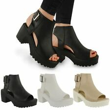 WOMENS LADIES CHUNKY CUT OUT FLAT  SANDALS ANKLE PLATFORM BOOTS OPEN TOE SIZE