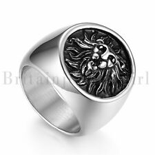 Retro Mens Biker Stainless Steel Feathered Pirate Captain Skull Ring Band Gothic