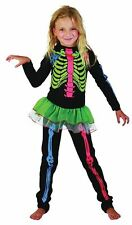 SKELETON GIRL MULTICOLOURED BONES CHILDRENS CHILDS COSTUME, HALLOWEEN #AU