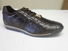 Studio Belvedere Men's Forde Leather Brown Nicotine Ostrich Caiman Dress Sneaker