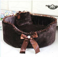 New Cute Pet Dog Cat Lace Bed Bowknot Puppy Beds with Pillow Kennel
