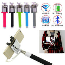 Wired Selfie Stick Monopod Mount with Rearview Mirror & Built-in Remote Shutter