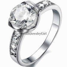 3.5mm Fashion Women Stainless Steel Prong CZ Wedding Promise Ring Band Size 5-9