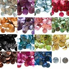 50Pcs Iridescent Mussel Shell Flat Round Coin Drop Charm Thin Disc Beads 18mm
