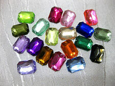 50 Acrylic - sparkling rhinestones,rectangular,to sew on,14x10mm,selectable,St43