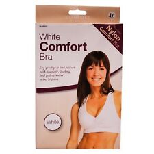 LADIES WHITE COMFORT BRA, NON WIRED, 8/10 12/14 OR 16/18 AVAILABLE, BOXED