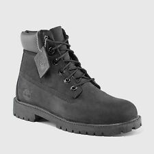 "NEW YOUTH TIMBERLAND 6"" WATERPROOF PREMIUM (GS) BOOTS  [12907]  BLACK NUBUCK"