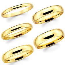 Solid 14K Yellow Gold 2mm 3mm 4mm 5mm Comfort Fit Men Women Wedding Band Ring