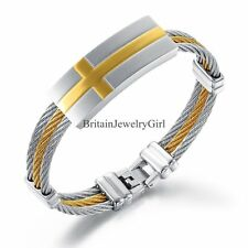 Stainless Steel Cool Men's Cable Wire ID Bracelet Silver&Gold Tone Bangle 8.7""