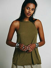 NEW Free People Mock Me Tank Top in Olive Ribbed Shirt WE THE FREE Size XS-L $30