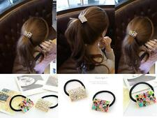 Fashion Square Crystal Ponytail Holder Rhinestone Elastic Hair Rope Hairband