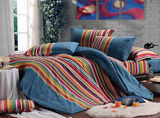100% Cotton Colorful Fashion Style Reversible Duvet Cover Set Twin/Twin XL Size