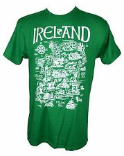 IRISH BAR T SHIRT IRELAND MAP IRISH COAST MENS Tee Shirt T-Shirt Irish Pride