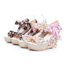 Ladies Wedge Sandals Women Platform Ankle Straps Shoes Pumps AU Size GDNX347