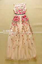 RUNWAY EMBROIDERY DRESS 2015 lace full summer dresses Gown Dresses long Vestido