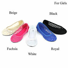 New Girls Cute Lace Crochet Ballet Flat Comfy Slip On Loafers Ballerina Shoes