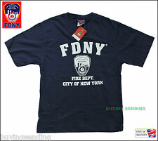UK SELLER FDNY NEW YORK CITY LICENSED T SHIRT FIRE CAP DEPARTMENT FIREMAN TOP