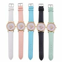 New Elegant Women Unisex Universal Motion Case Leather Band Wristwatch