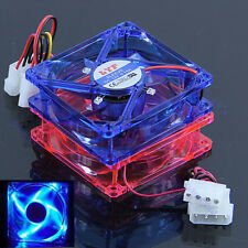Cooling CPU Heatsink Fans 4 LED Light for Computer PC Case 80 x 80 x 25mm 4 Pins