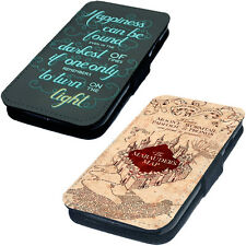 Map & Quote - Printed Faux Leather Flip Phone Cover Case Harry Potter Style