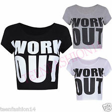 Womens New Work Out Slogan Print Ladies Short Cap Sleeves Belly Crop Top T-Shirt