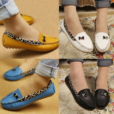 HOT Women Leather Leopard Casual Slip On Dolly Ballet Flat Heel Loafer Shoes RT