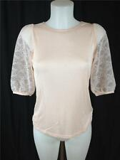 FAMOUS CATALOG MODAL / LACE PUFF SLEEVES TEE TOP PINK SZ XS, M, L, XL