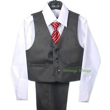 5pcs Set Gray Formal Suit Outfit Occasion Wedding Page Boy Wear Kid Sz 1-6 ST031