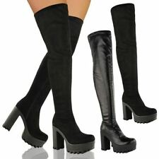 LADIES WOMENS OVER THE KNEE THIGH HIGH CHUNKY PLATFORM BLOCK HEEL BOOTS STRETCH