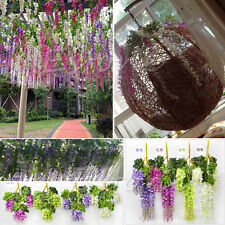 Hot Artificial Plants Fake Flowers Wisteria Vine Leaf Garland Foliage DIY Decor