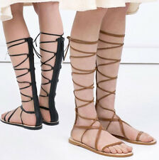 Women's Cow Leather Knee Boots Sandals Flats Heels Boots Lace Up Party Shoes