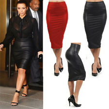 Womens Sexy Wet Look Faux Leather High Waist Pencil Bodycon Dress Midi Skirts DU
