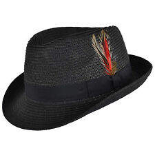 Mens Ladies Black Packable Straw Summer Trilby  Hat With Band and  Feather New