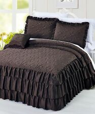 BNF Home Matte Satin Ruffle Quilted 4 Piece Bedspread Set