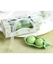 Ceramic 2 Peas in a Pod Salt & Pepper Sets Wedding Baptism Favour Select Qty
