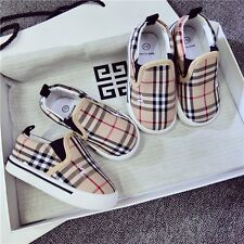 Kids Girls Boys Baby Toddlers Classical Lattice Canvas Shoes Plimsolls Sneakers
