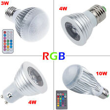 Ultra Bright 3W 4W 10W LED Bombillas MR16 GU10 E27 RGB Spotlight Bulbs Lamp