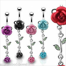1 PIECE 14g Surgical Steel Navel Belly Ring with Metal Flower Rose & Rose Dangle