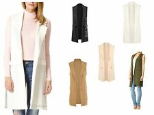 WOMENS LADIES LONG LINE DUSTER COAT SLEEVELESS WAISTCOAT SMART BLAZER plus size